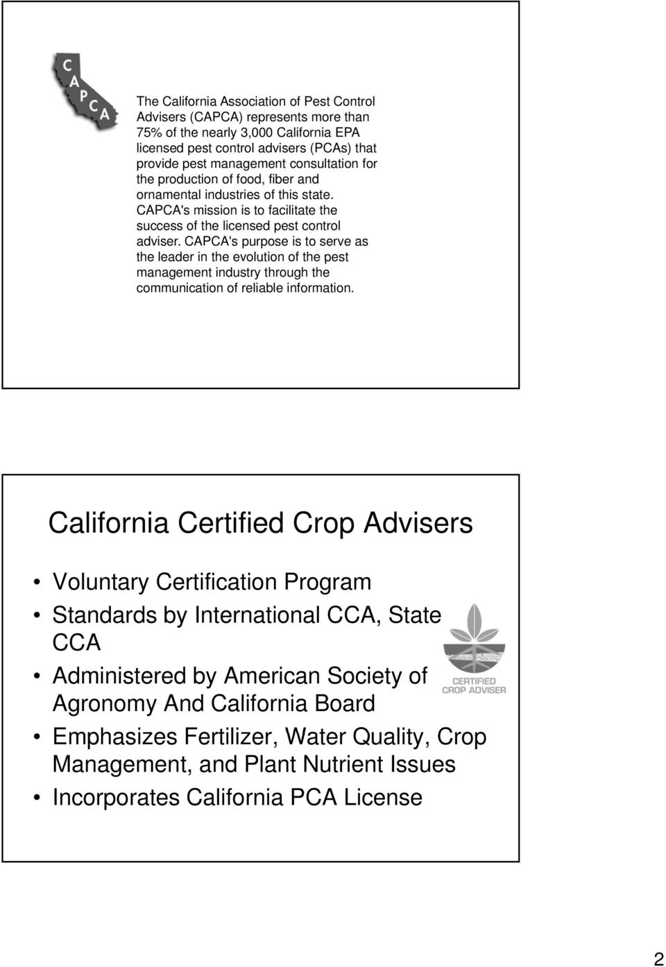 Overview Of The Pcacca Role In Providing Nutrient And Pest Control