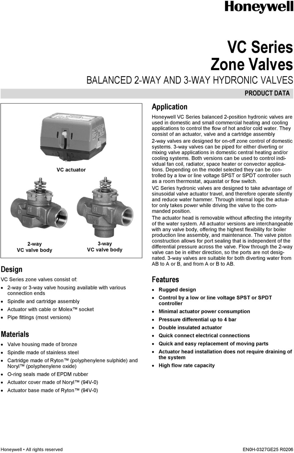 Vc Series Zone Valves Balanced 2 Way And 3 Hydronic Pdf A Hot Water Valve Wiring Diagram Stainless Steel Cartridge Made Of Ryton Polyphenylene Sulphide Noryl Oxide