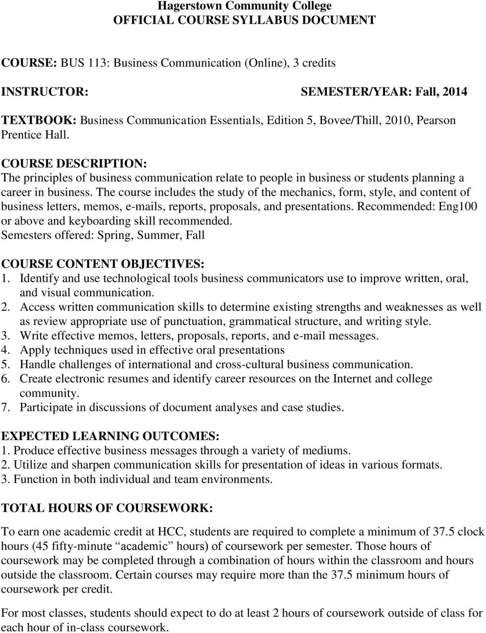 Hagerstown Community College Official Course Syllabus Document