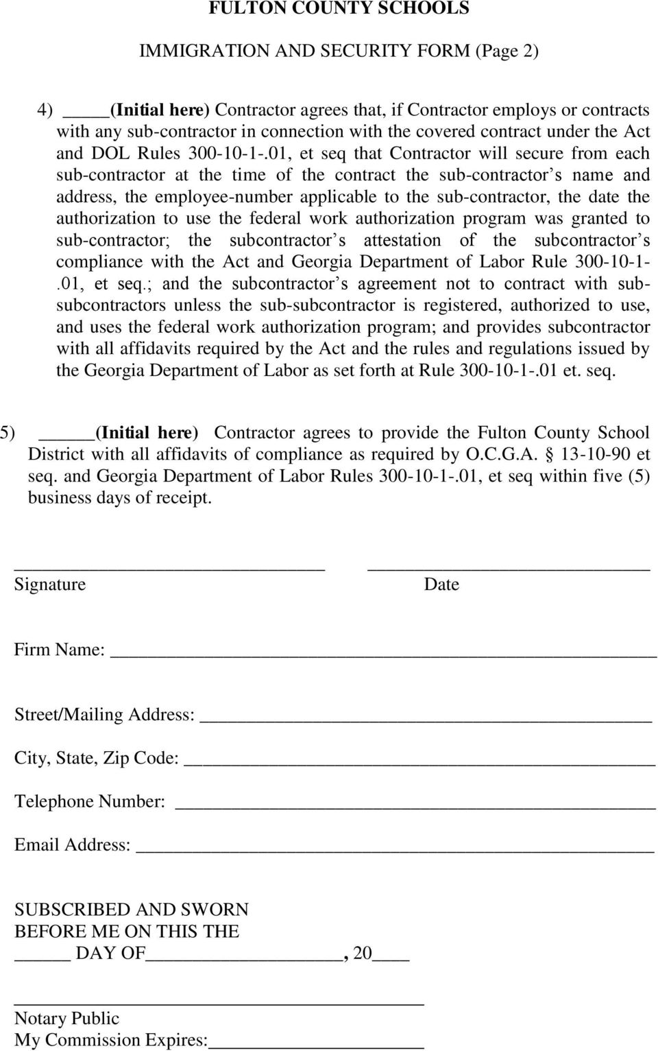 FULTON COUNTY SCHOOLS IMMIGRATION AND SECURITY FORM - PDF