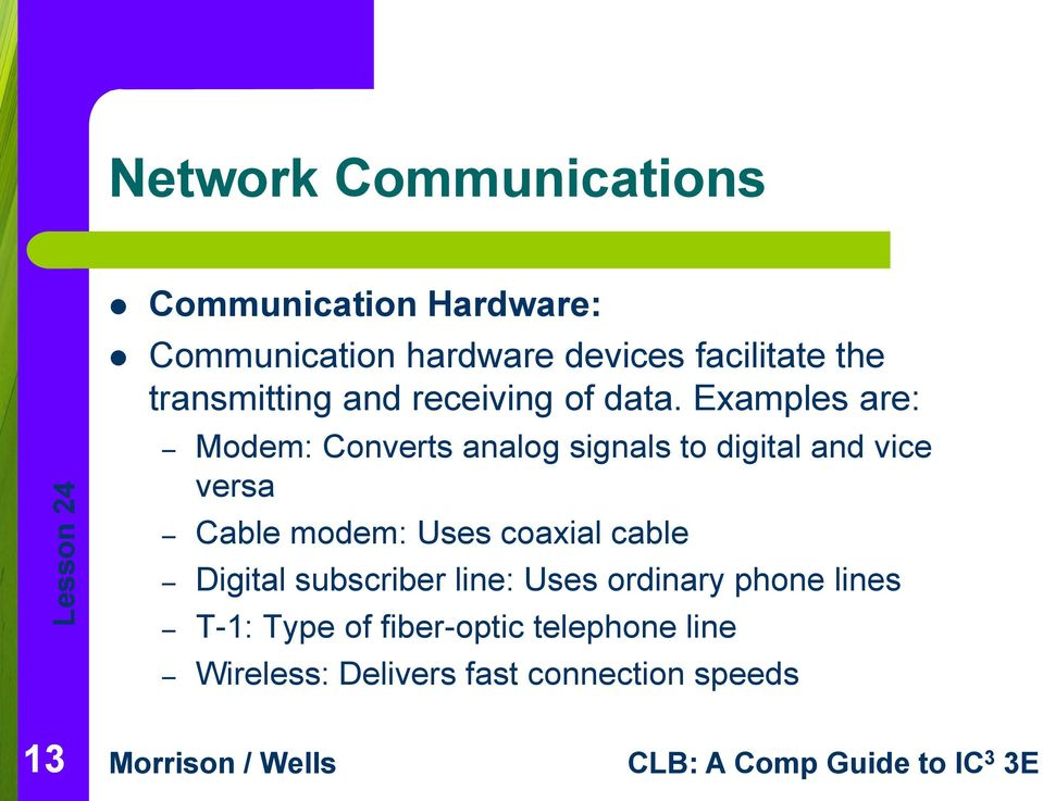 Examples are: Modem: Converts analog signals to digital and vice versa Cable modem: Uses