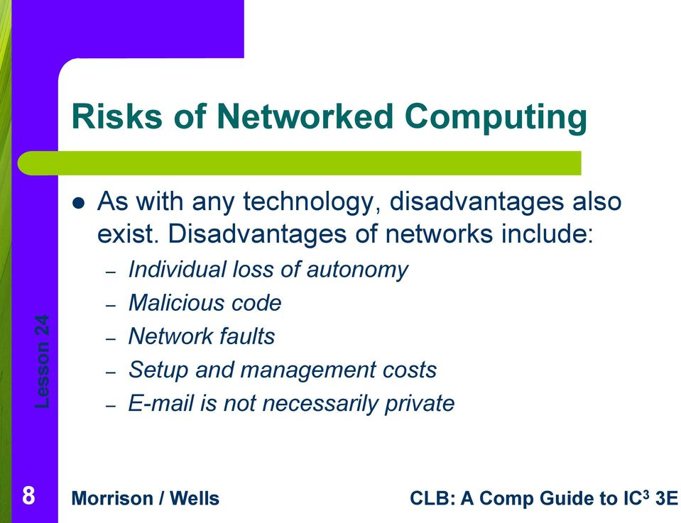 Disadvantages of networks include: Individual loss of