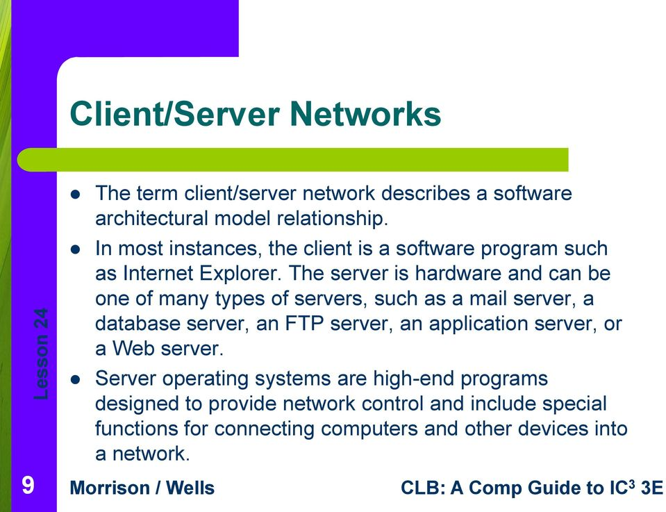 The server is hardware and can be one of many types of servers, such as a mail server, a database server, an FTP server, an