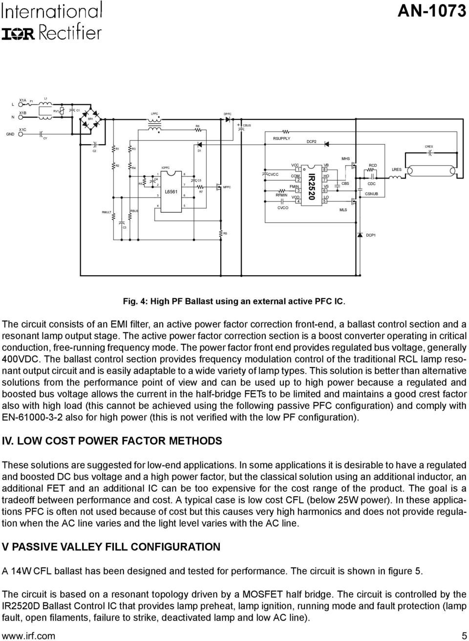 Application Note An Pdf Cfl Ups Circuit Diagram The Consists Of Emi Filter Active Power Factor Correction Front End