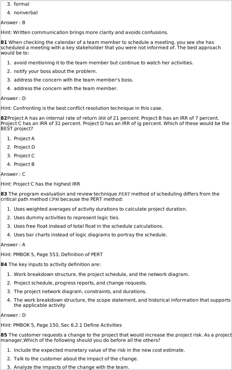 Pmp Sample Questions Based On Pmbok 5th Edition Pdf Logic Diagram Definition Avoid Mentioning It To The Team Member But Continue Watch Her Activities 2