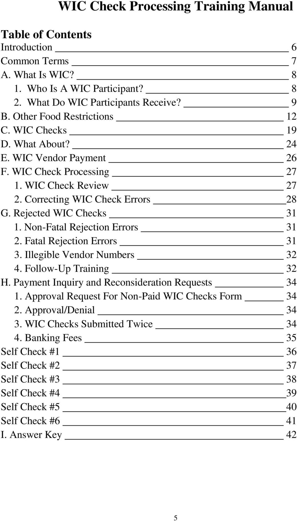 Rejected WIC Checks 31 1. Non-Fatal Rejection Errors 31 2. Fatal Rejection