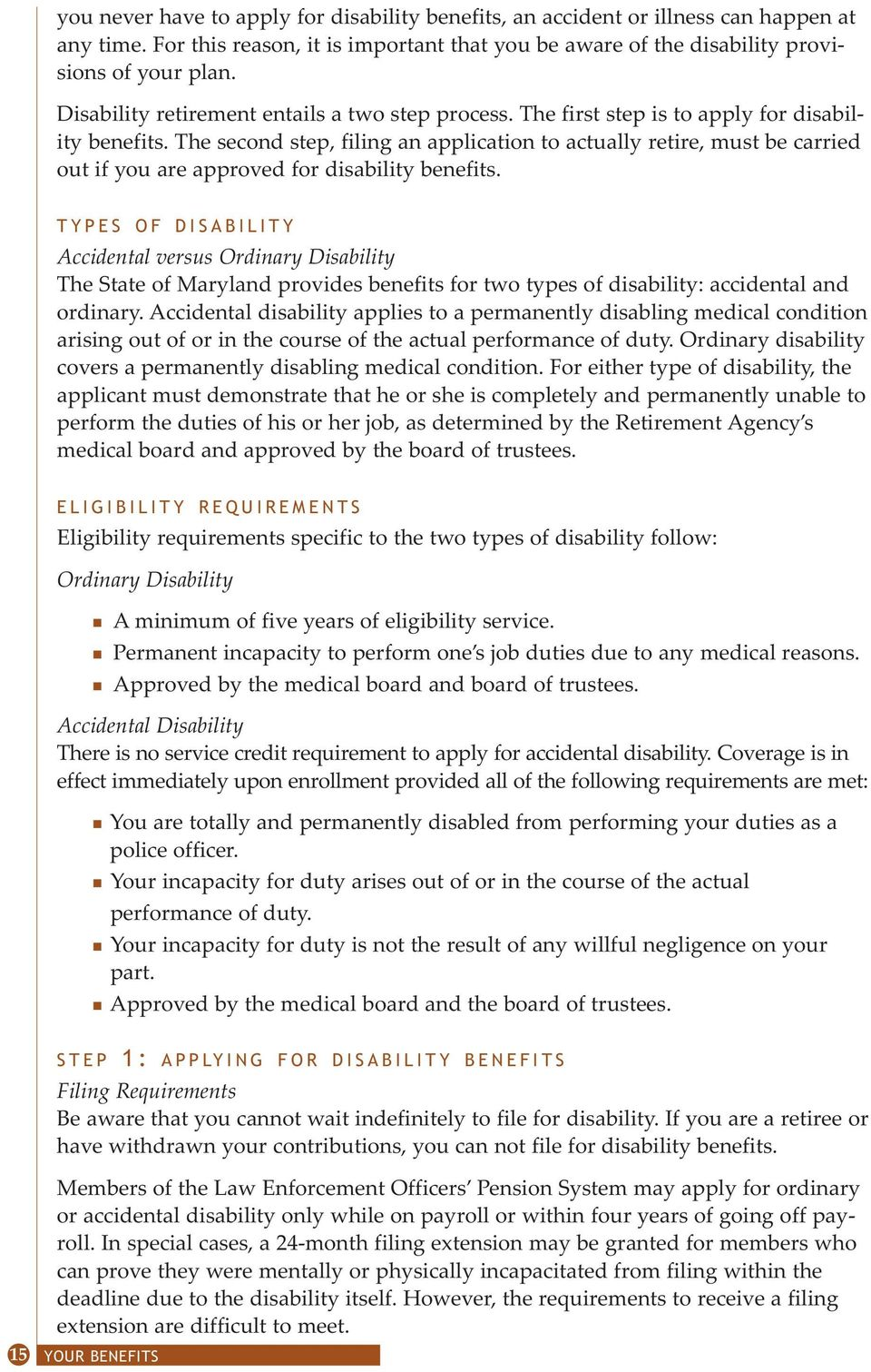 Benefits  handbook  Revised July Pension System for Law