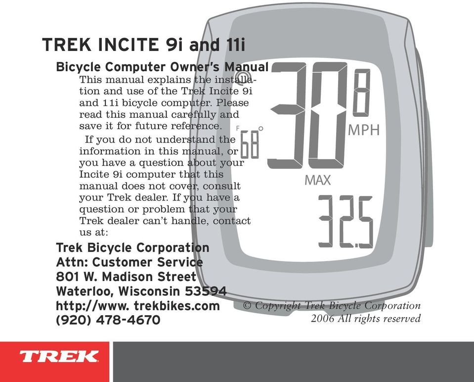 trek incite 9i and 11i pdf rh docplayer net trek bike manual Trek Bikes for Women