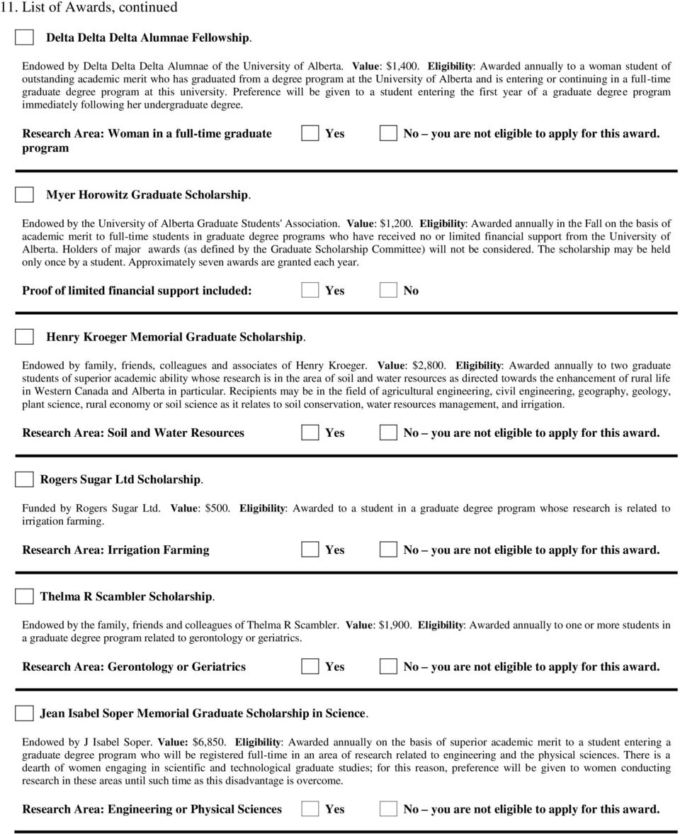 Agricultural Food And Nutritional Science Award Application
