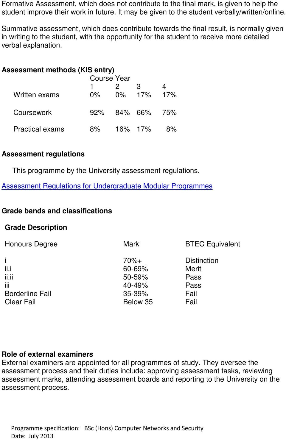 Assessment methods (KIS entry) Course Year 1 2 3 4 Written exams 0% 0% 17% 17% Coursework 92% 84% 66% 75% Practical exams 8% 16% 17% 8% Assessment regulations This programme by the University