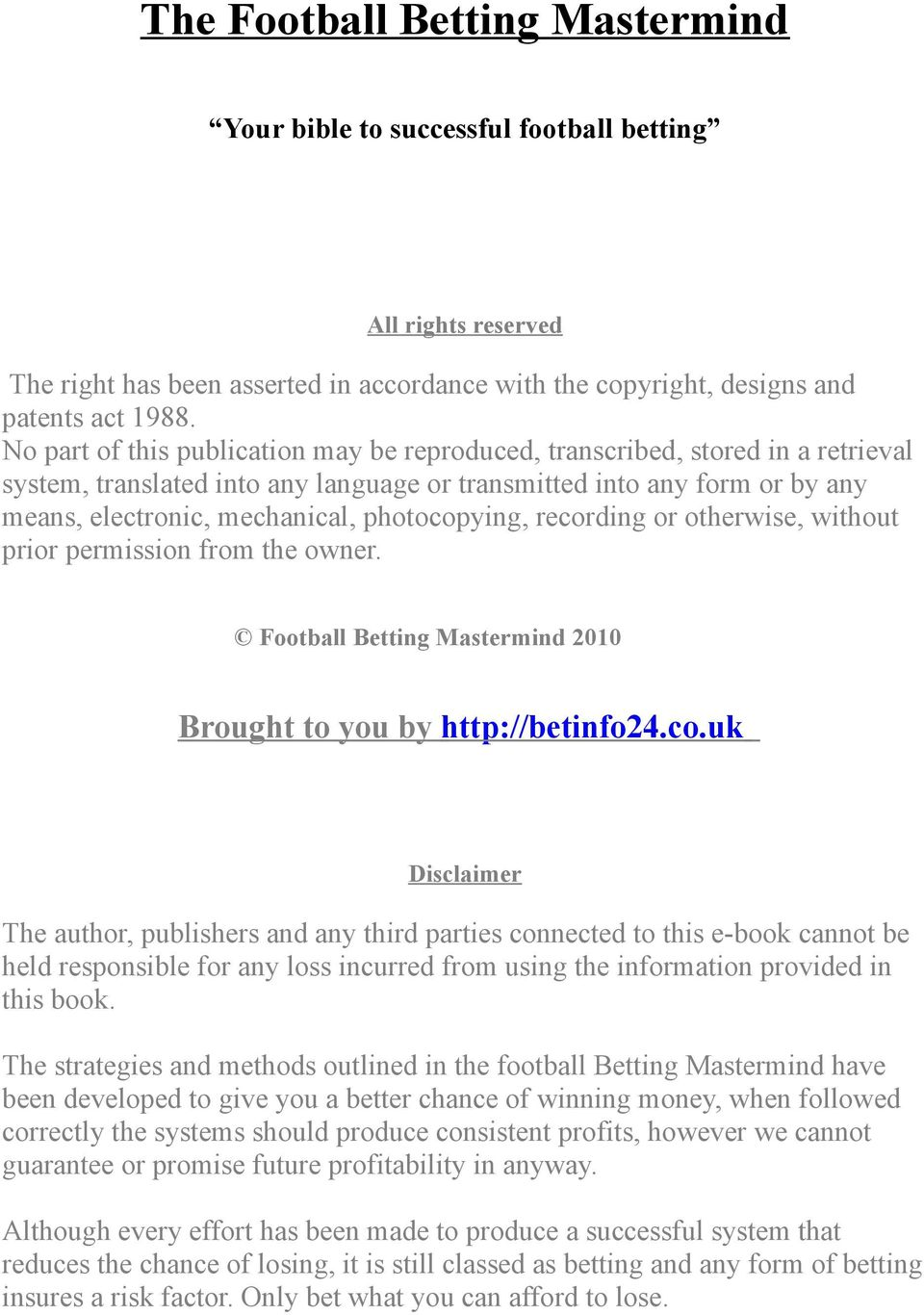 The Football Betting Mastermind - PDF