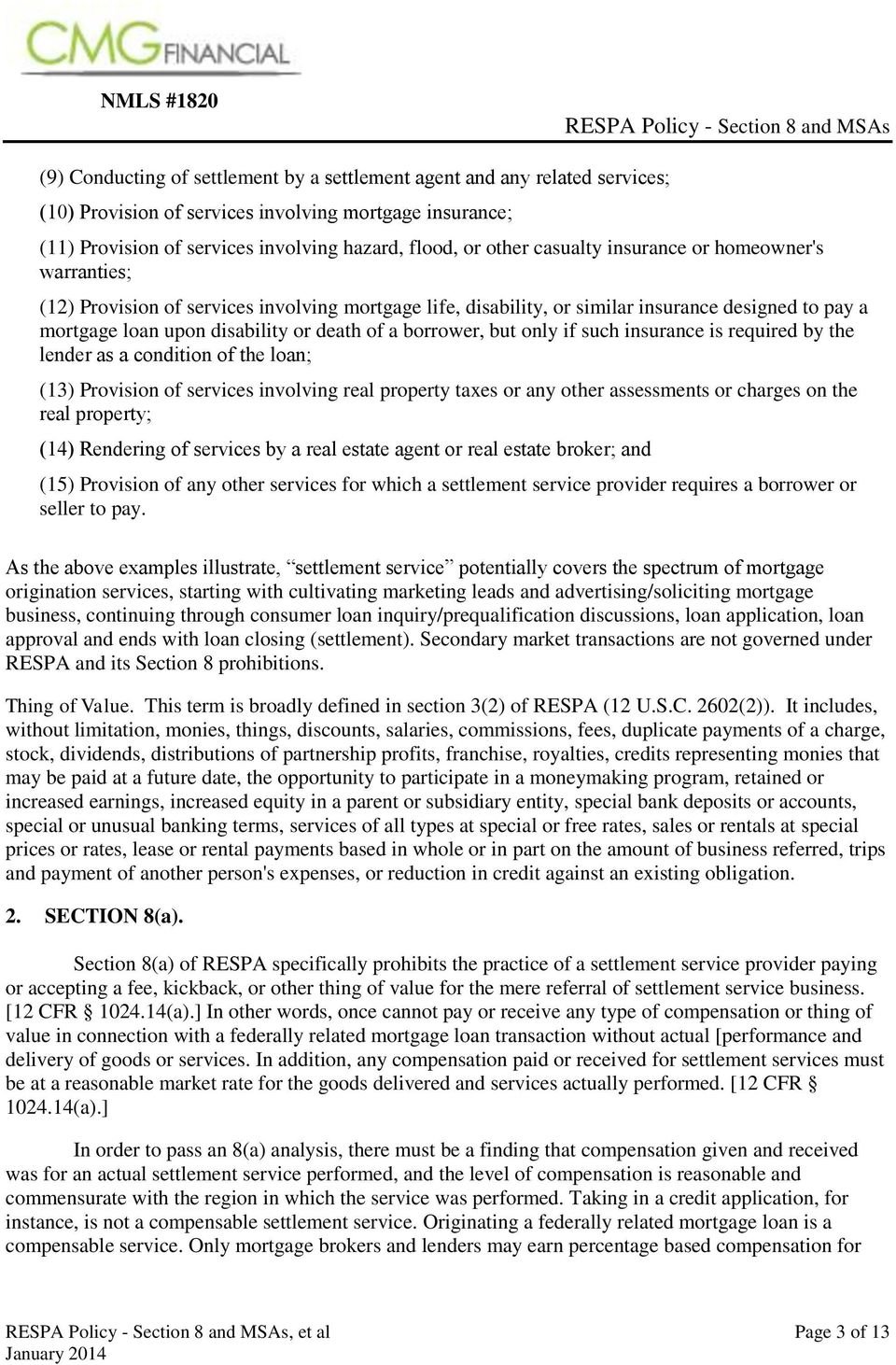 NMLS #1820 RESPA Policy - Section 8 and MSAs - PDF