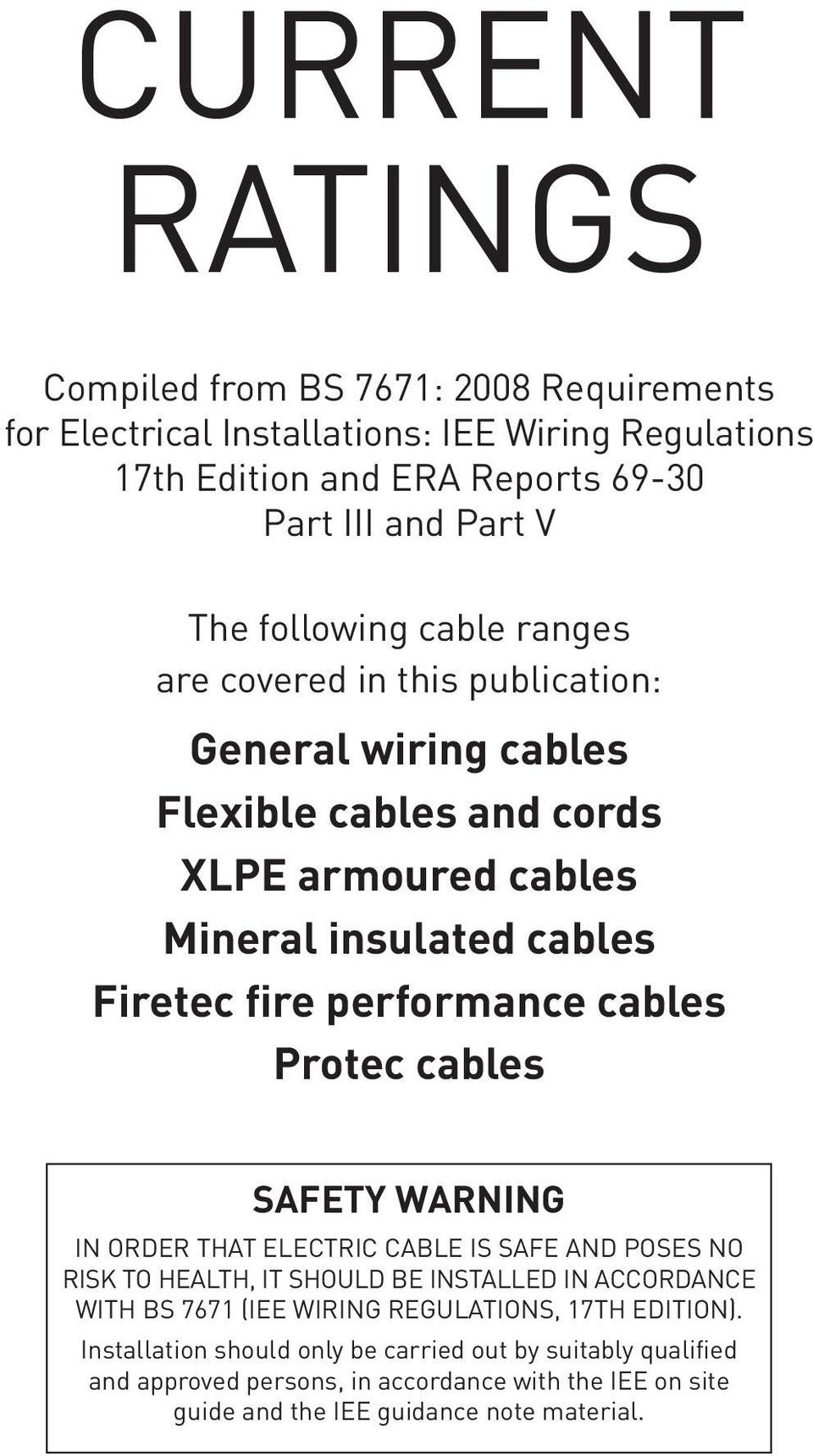 Current ratings more than a cable pdf performance cables protec cables sfety wrning in order tht electric cble is sfe nd poses no greentooth Gallery