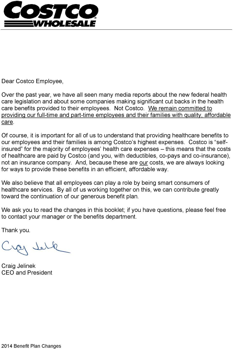2014 BENEFIT PLAN CHANGES Costco Employee Benefits Program - PDF