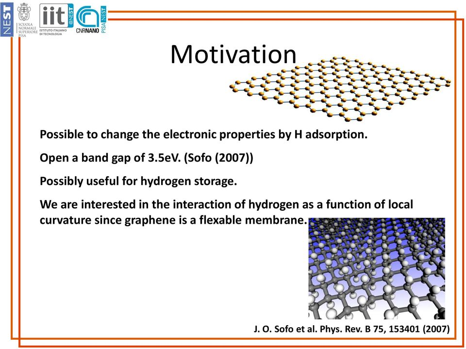 The influence of graphene curvature on hydrogen adsorption