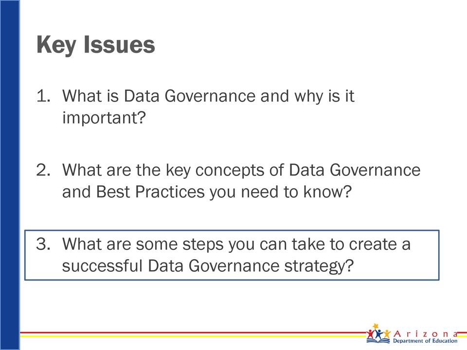 What are the key concepts of Data Governance and Best