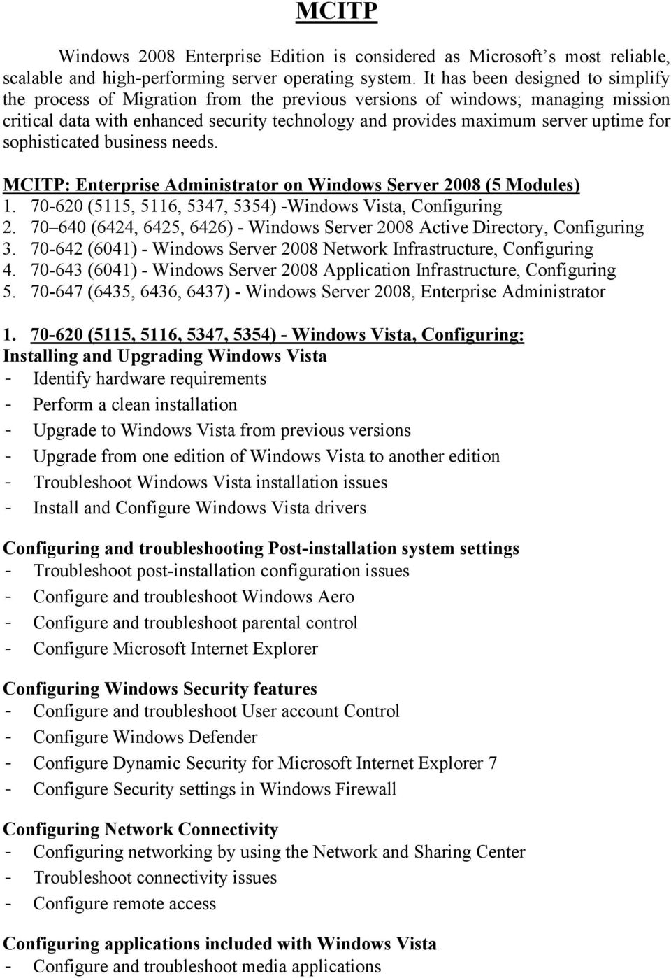 for sophisticated business needs. MCITP: Enterprise Administrator on Windows Server 2008 (5 Modules) 1. 70-620 (5115, 5116, 5347, 5354) -Windows Vista, Configuring 2.