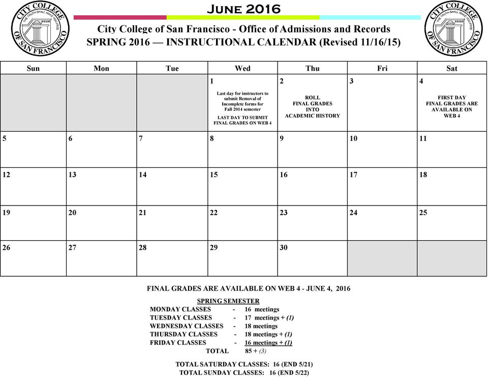 GRADES ARE AVAILABLE ON WEB 0 0 0 FINAL GRADES ARE AVAILABLE ON WEB - JUNE, 0 SPRING SEMESTER MON - meetings TUES