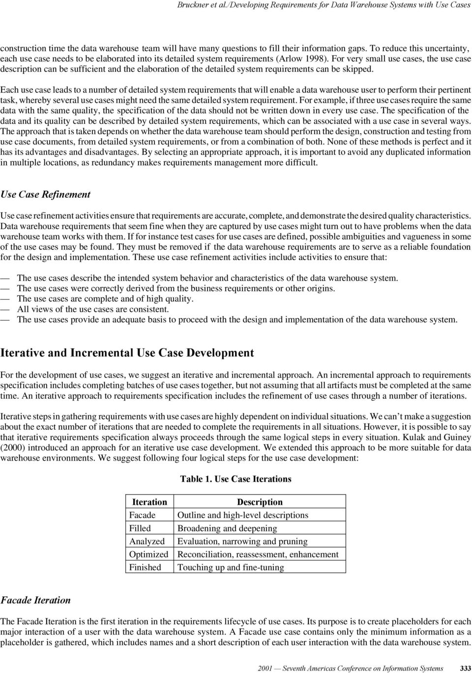 DEVELOPING REQUIREMENTS FOR DATA WAREHOUSE SYSTEMS WITH USE CASES - PDF