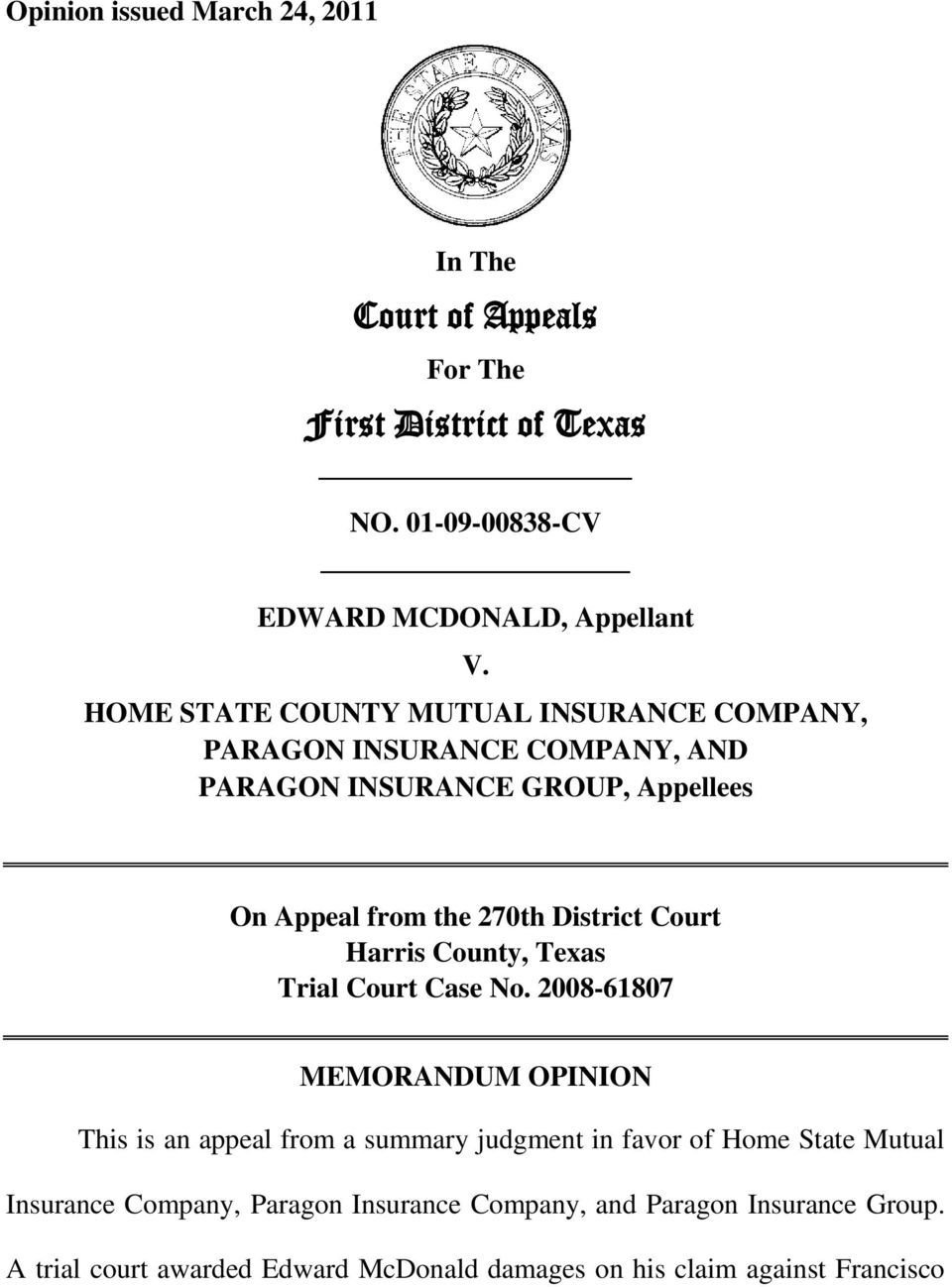Court Of Appeals First District Of Texas Pdf