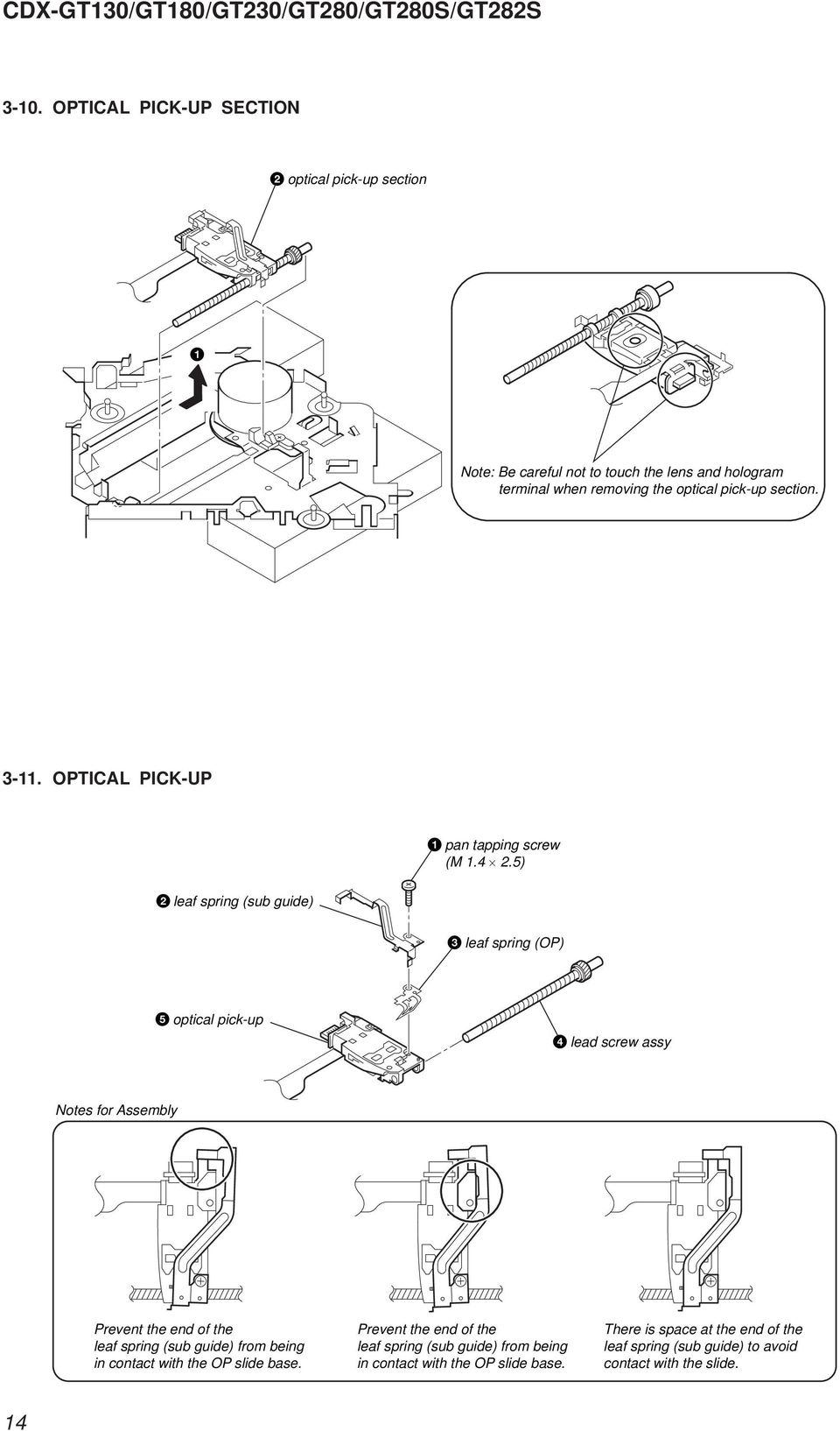 Photo Cdx Gt130 Specifications Pdf Sony Wiring Diagram Get Free Image About 5 Leaf Spring Sub Guide Op Optical Pick