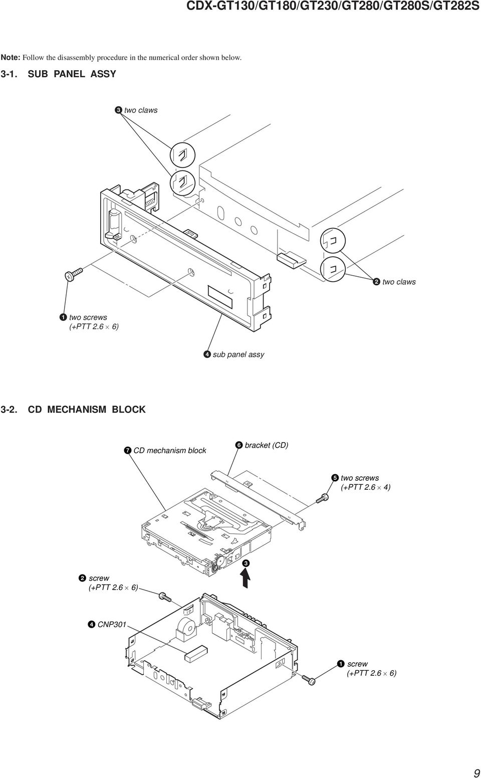 Photo Cdx Gt130 Specifications Pdf Sony Wiring Diagram Get Free Image About 6 Sub Panel Assy 3 2