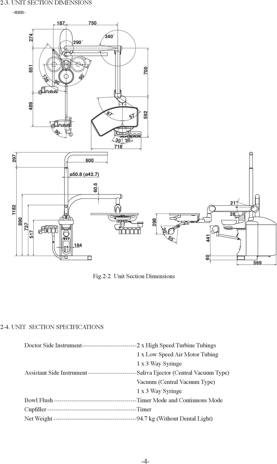 Dental Unit Installation Instructions Pdf Vacuum Motor Wiring Diagram On Schematic For Central Sectin Specificatins Doctor Side Instrument