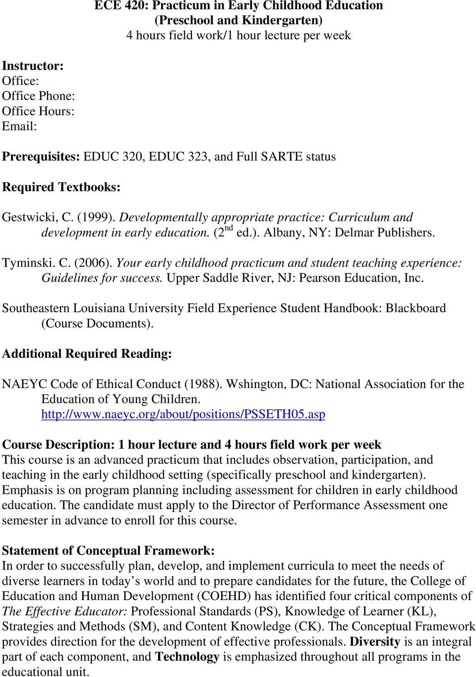 Ece 420 Practicum In Early Childhood Education Preschool And