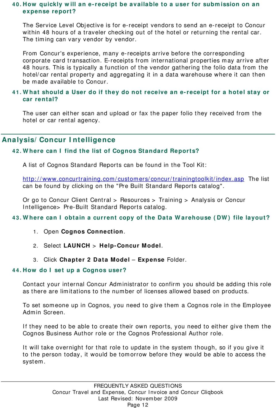 FREQUENTLY ASKED QUESTIONS  Concur Travel and Expense, Concur