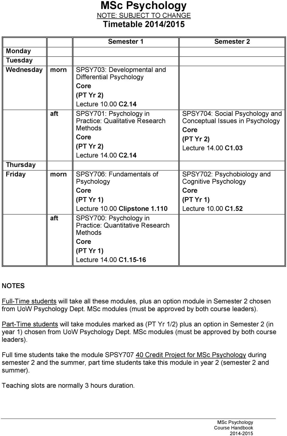 03 Thursday Friday morn SPSY706: Fundamentals of Psychology (PT Yr 1) Lecture 10.00 Clipstone 1.110 aft SPSY700: Psychology in Practice: Quantitative Research Methods (PT Yr 1) Lecture 14.00 C1.