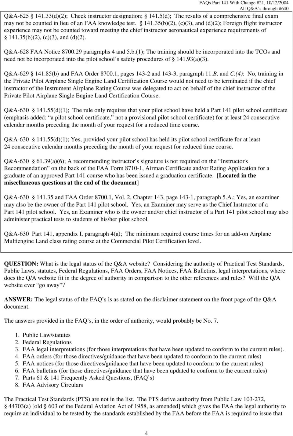 Frequently Asked Questions 14 Cfr Part 141 Arranged By Section