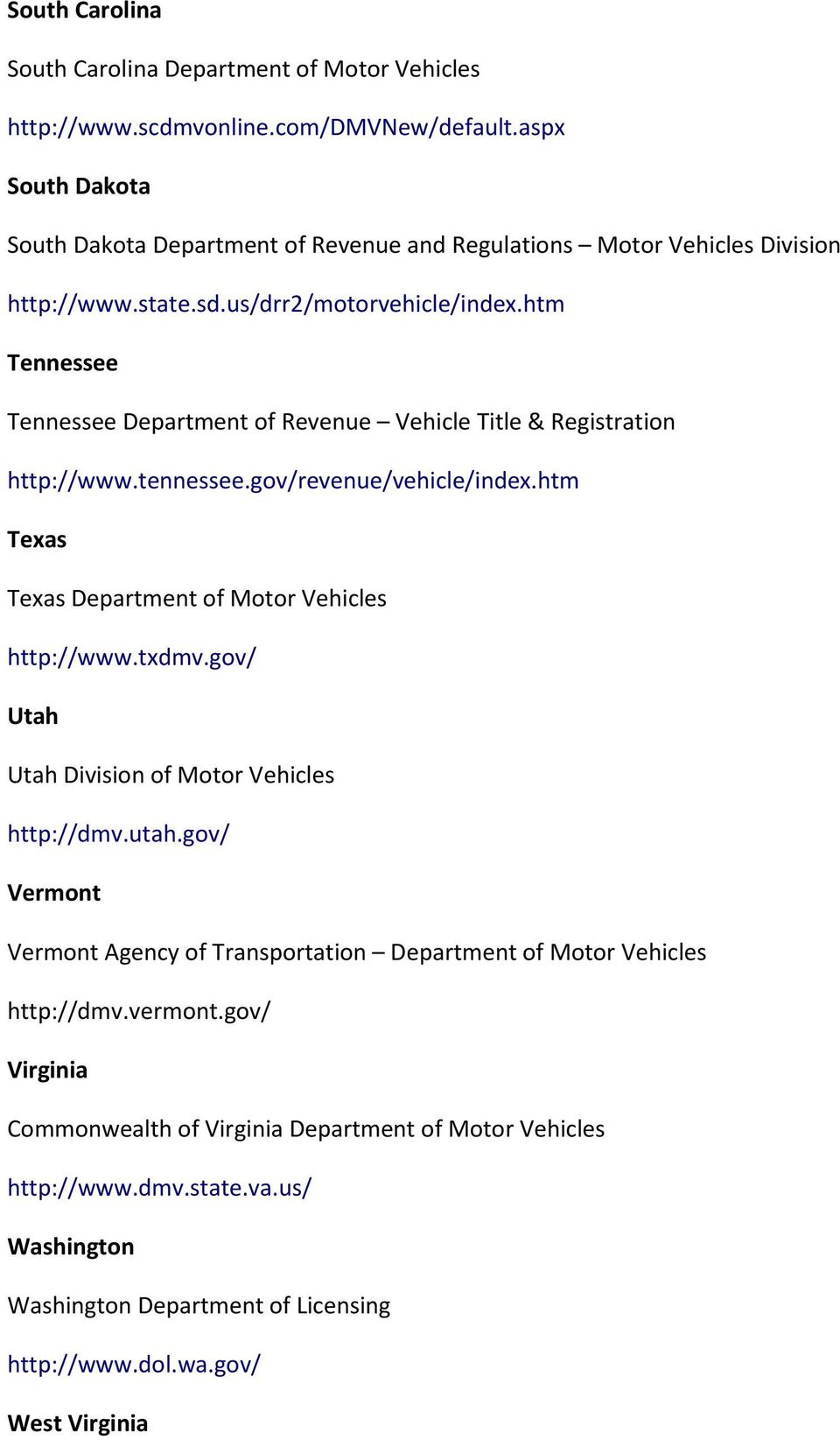 htm Tennessee Tennessee Department of Revenue Vehicle Title & Registration http://www.tennessee.gov/revenue/vehicle/index.htm Texas Texas Department of Motor Vehicles http://www.txdmv.