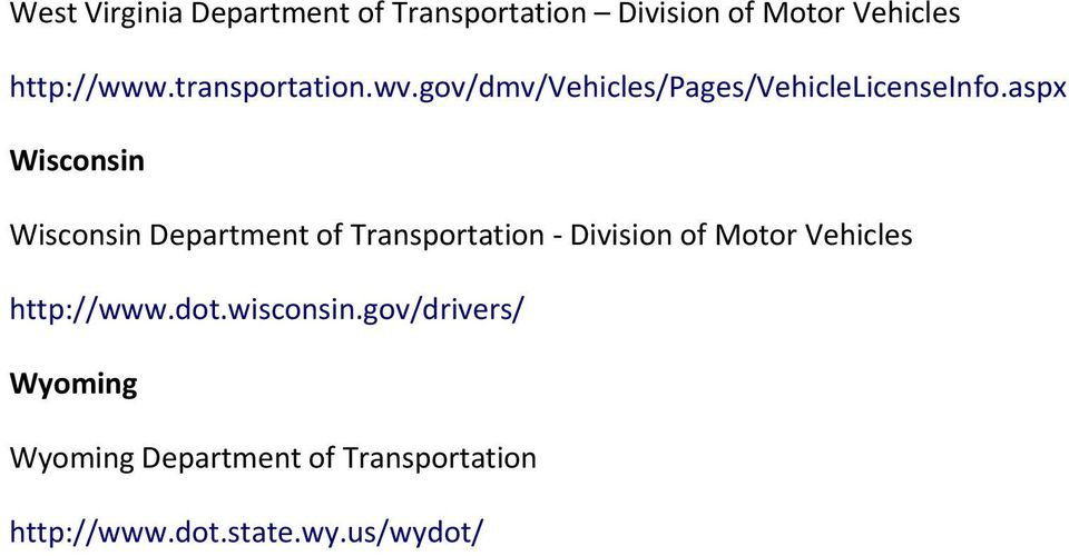 List of State DMV Websites - PDF