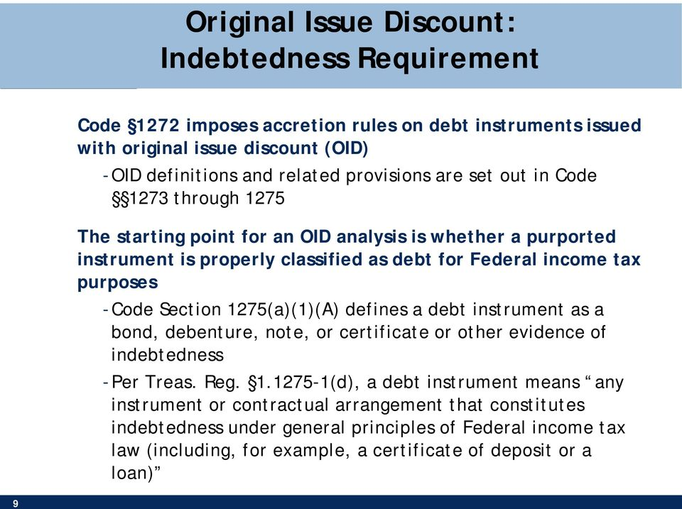 Taxation of Debt Instruments: OID and AHYDO Rules