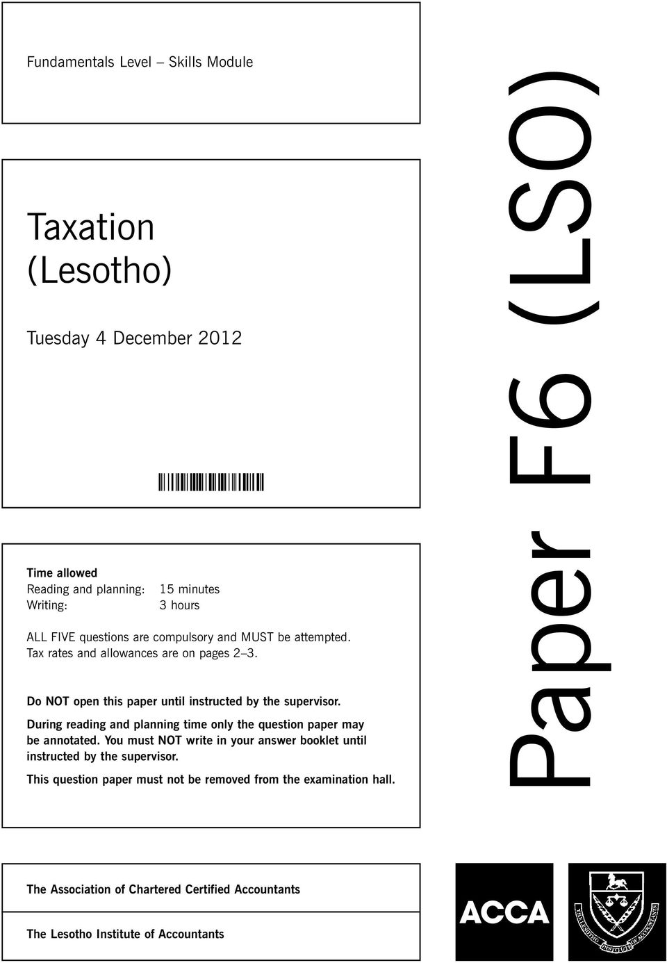 Paper F6 (LSO) Taxation (Lesotho) Tuesday 4 December