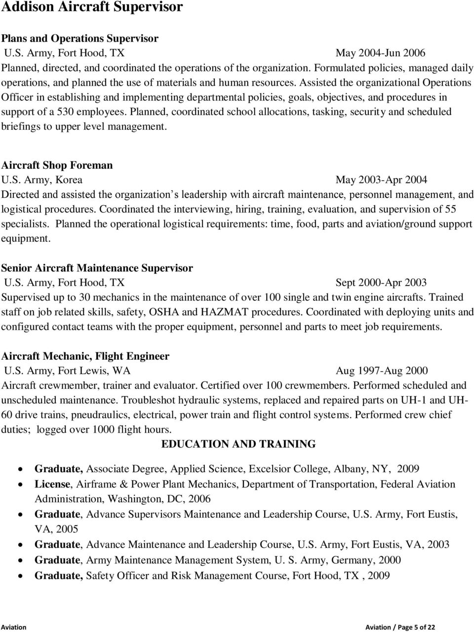 SAMPLE RESUMES FOR AVIATION - PDF