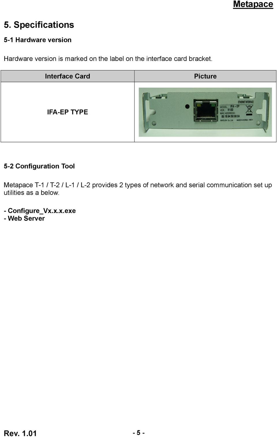 Interface Card Picture IFA-EP TYPE 5-2 Configuration Tool Metapace T-1 / T-2 / L-1