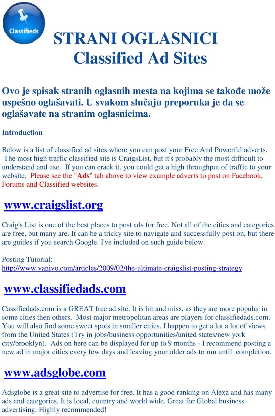 STRANI OGLASNICI Classified Ad Sites - PDF