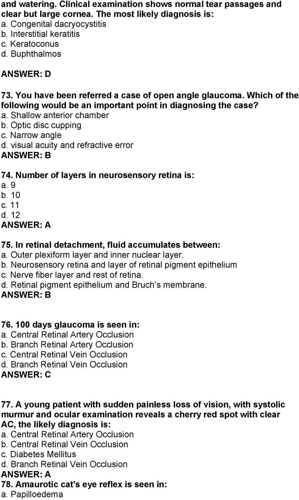 MULTIPLE CHOICE QUESTIONS: OPHTHALMOLOGY (FOR MBBS FINAL PART I) 2 ...