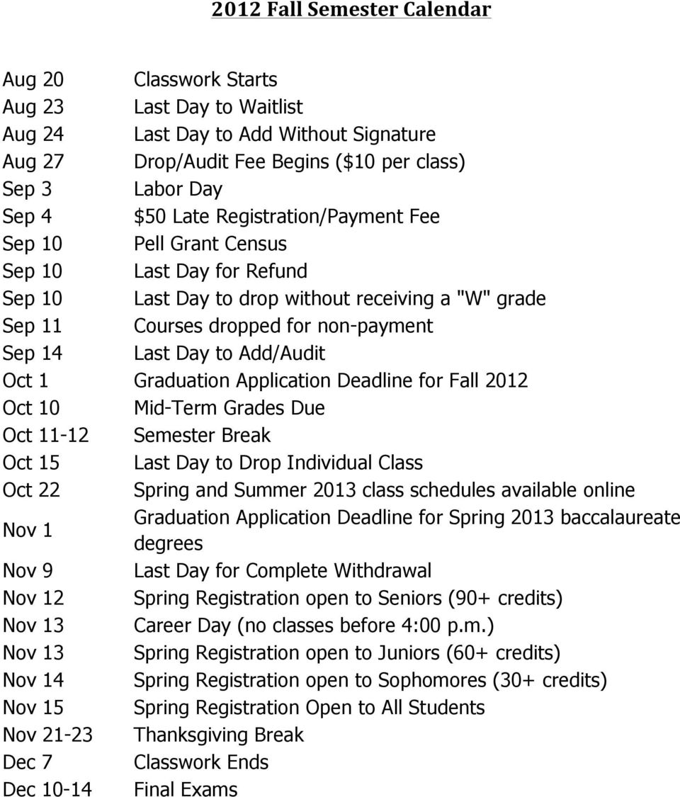 Oct 1 Graduation Application Deadline for Fall 2012 Oct 10 Mid-Term Grades Due Oct 11-12 Semester Break Oct 15 Last Day to Drop Individual Class Oct 22 Spring and Summer 2013 class schedules