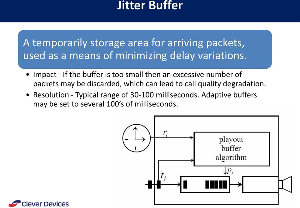 Impact - If the buffer is too small then an excessive number of packets may be discarded,