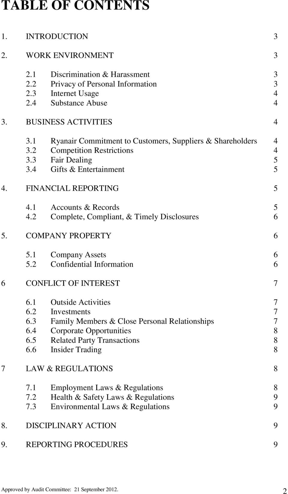 2 Complete, Compliant, & Timely Disclosures 6 5. COMPANY PROPERTY 6 5.1 Company Assets 6 5.2 Confidential Information 6 6 CONFLICT OF INTEREST 7 6.1 Outside Activities 7 6.2 Investments 7 6.