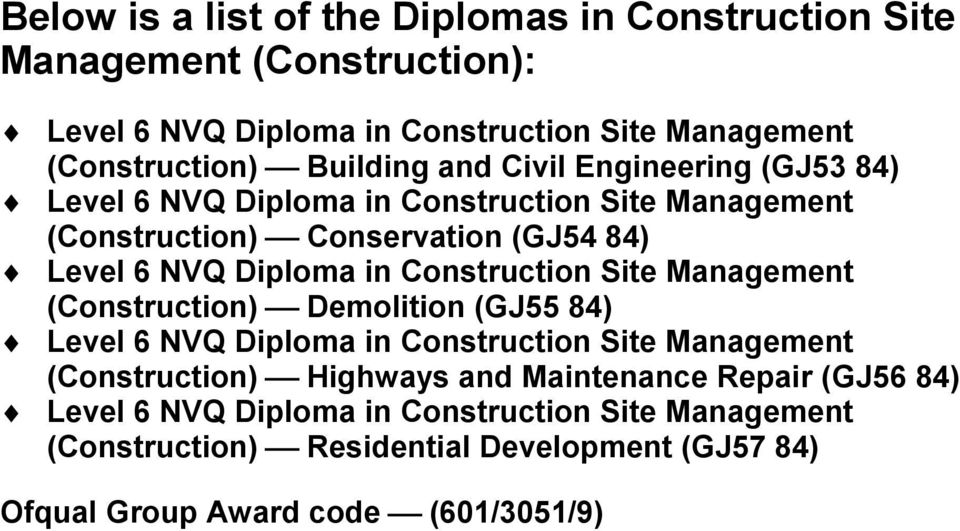 in Construction Site Management (Construction) Demolition (GJ55 84) Level 6 NVQ Diploma in Construction Site Management (Construction) Highways and