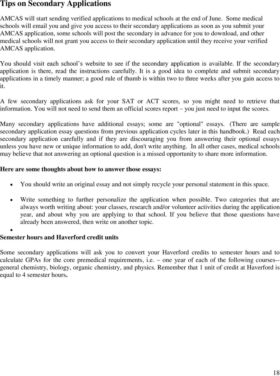 HAVERFORD COLLEGE Medical School Application Guide for