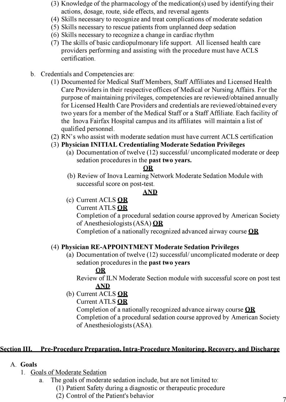 Inova Fairfax Hospital Request For Privelages To Administer Moderate
