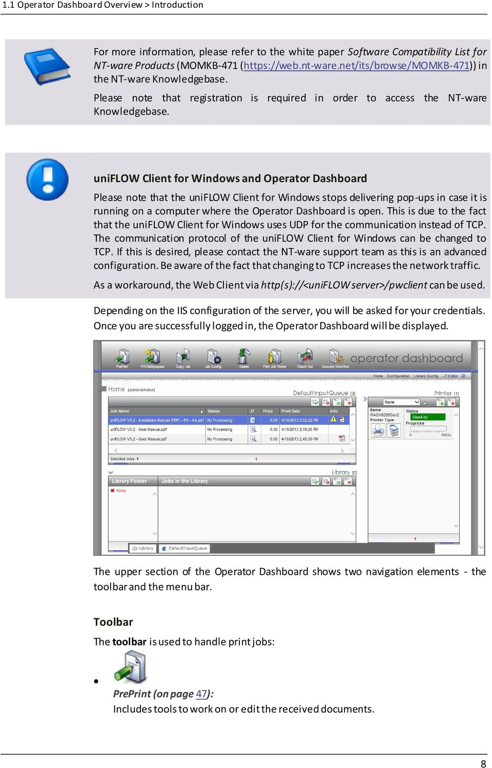 Operator Dashboard User Manual  uniflow V5 4 SR3 - PDF