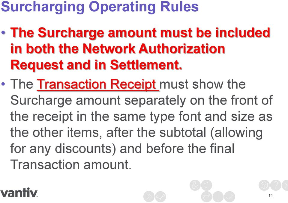 The Transaction Receipt must show the Surcharge amount separately on the front of the