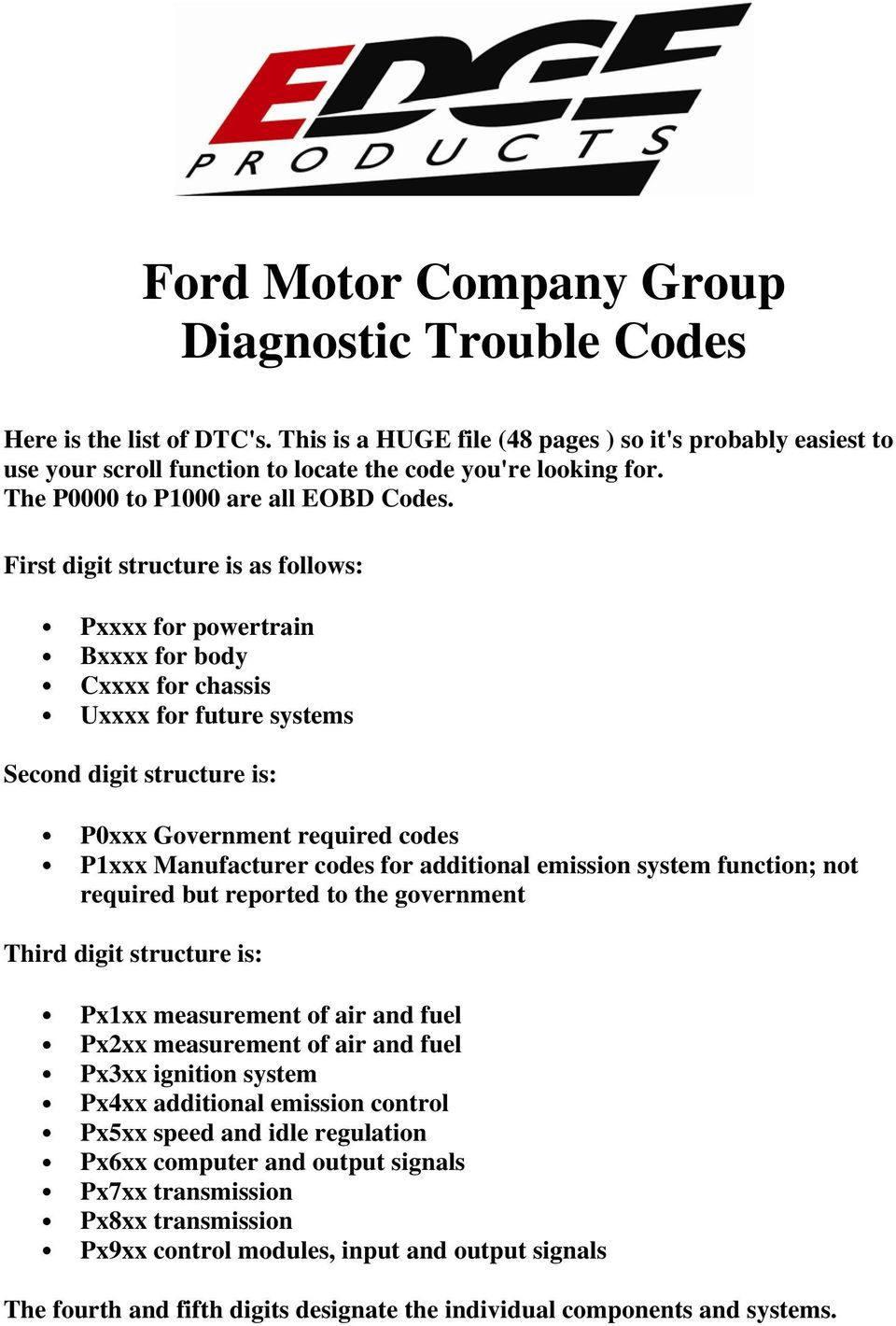 Ford Motor Company Group Diagnostic Trouble Codes - PDF