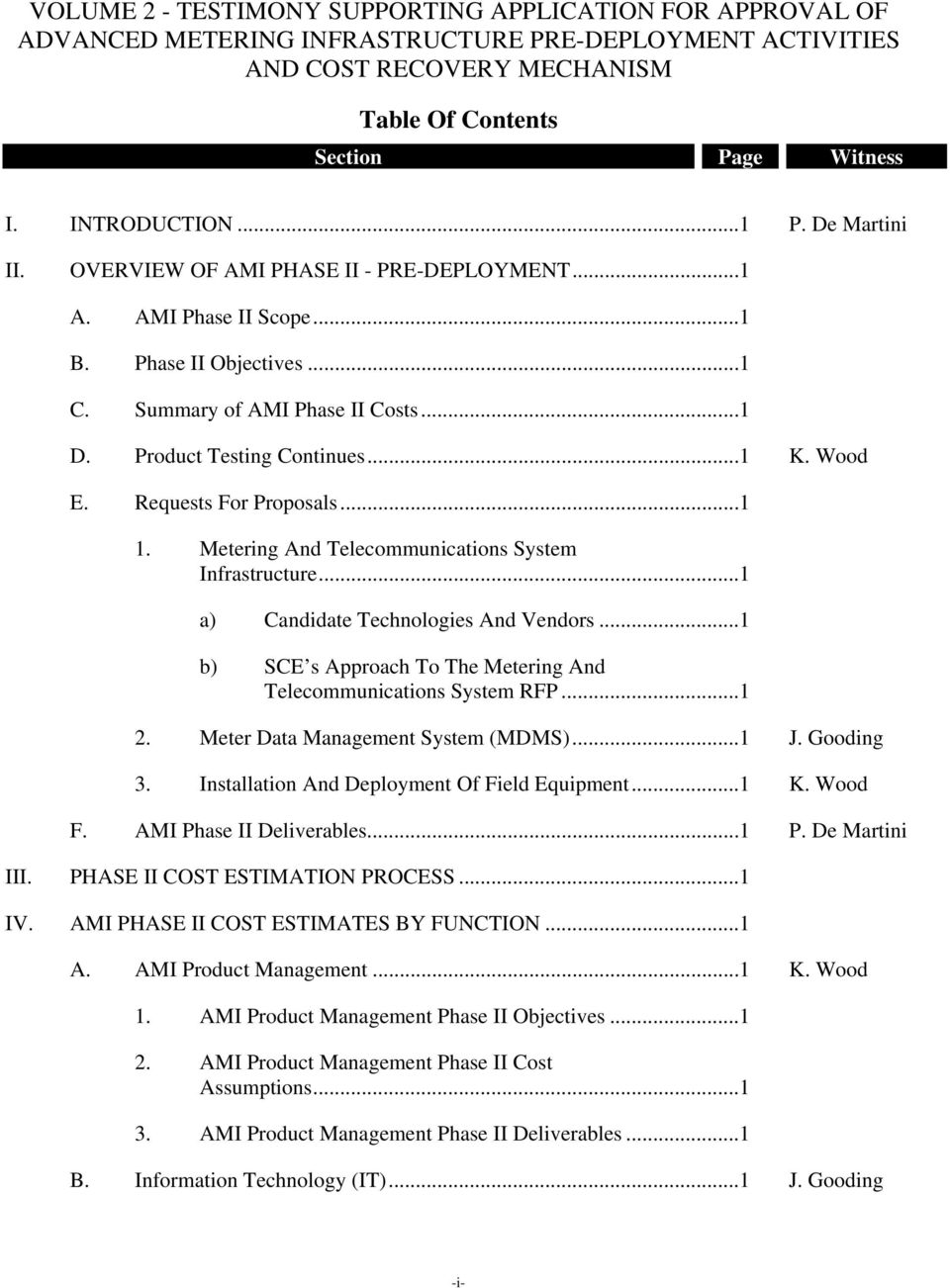 Volume 2 AMI Phase II Pre-Deployment Activities and Cost
