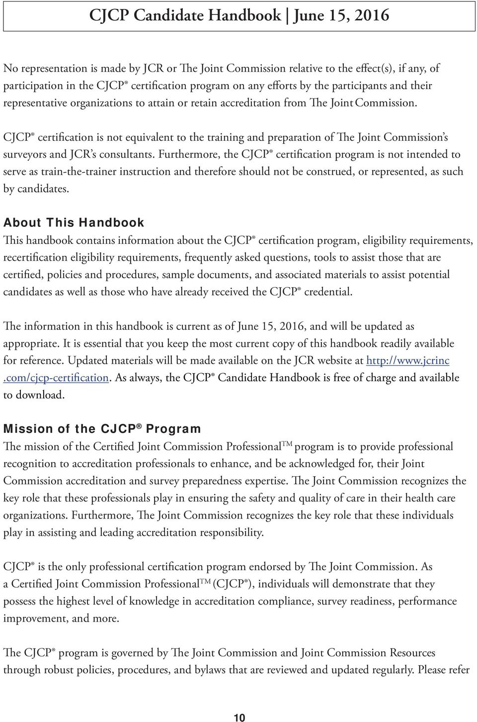 Certified Joint Commission Professional Candidate Handbook